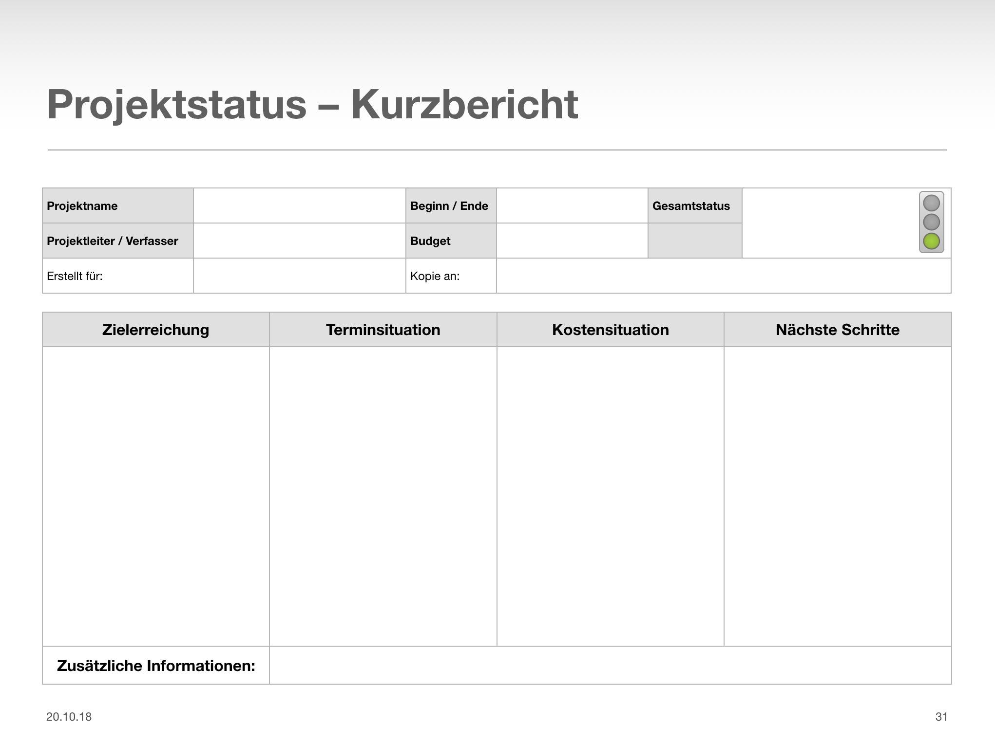 Vorlage Statusbericht Projekte Leicht Gemacht 11