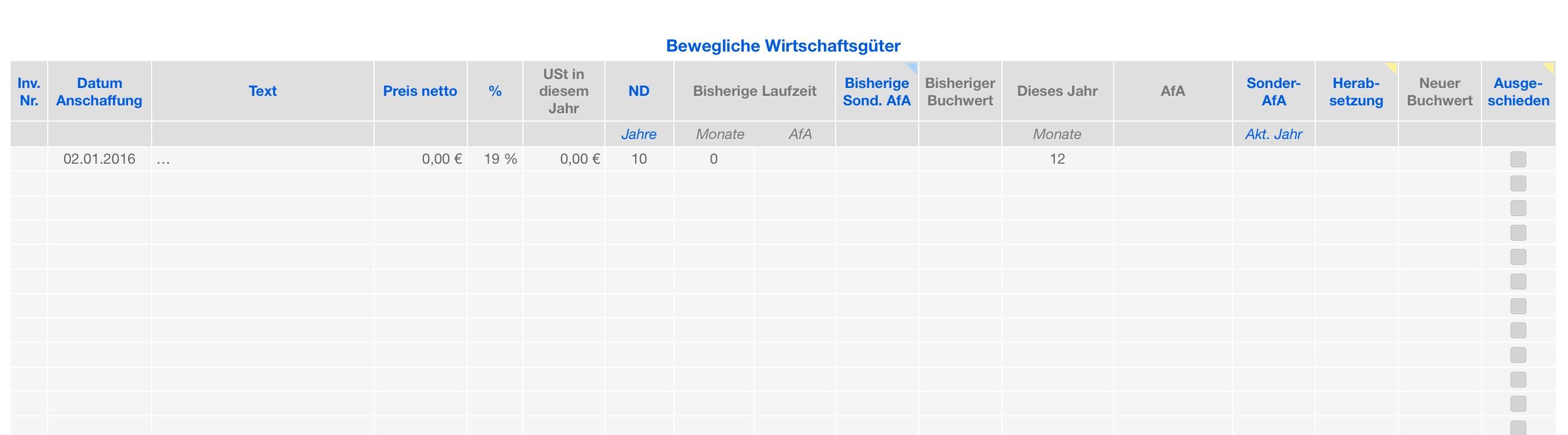 Numbers vorlage einnahmen berschuss rechnung e r 2016 - Amtliche afa tabelle 2016 ...