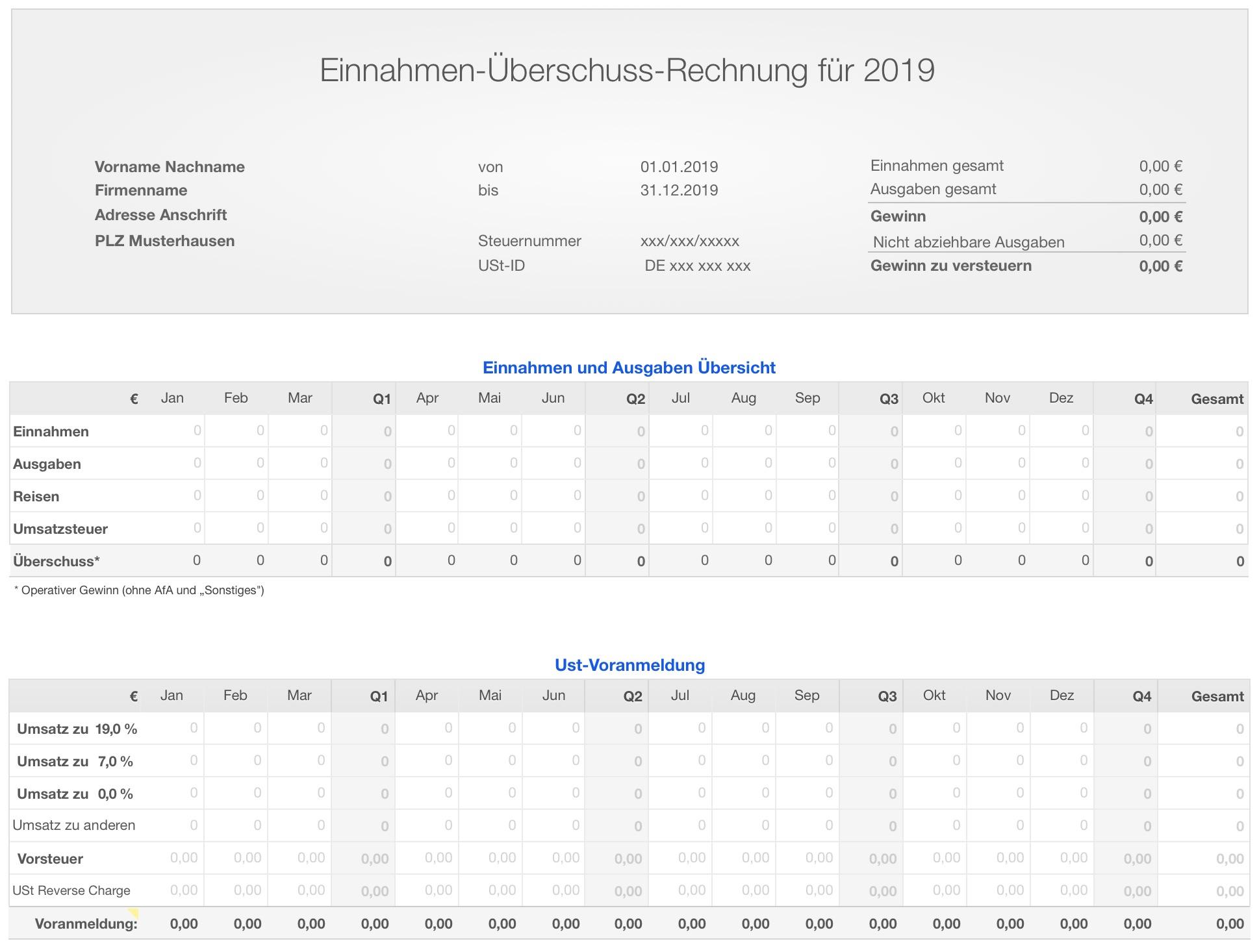Numbers Vorlage Einnahmen überschuss Rechnung Eür 2019
