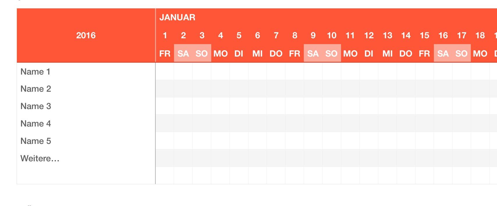 Numbers Vorlage Urlaubsplaner 2016 | Numbersvorlagen.de