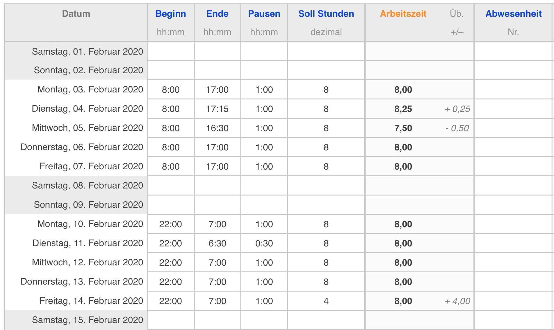 Excel Arbeitszeitnachweis Vorlagen 2020 Excel Stundenzettel 3 11