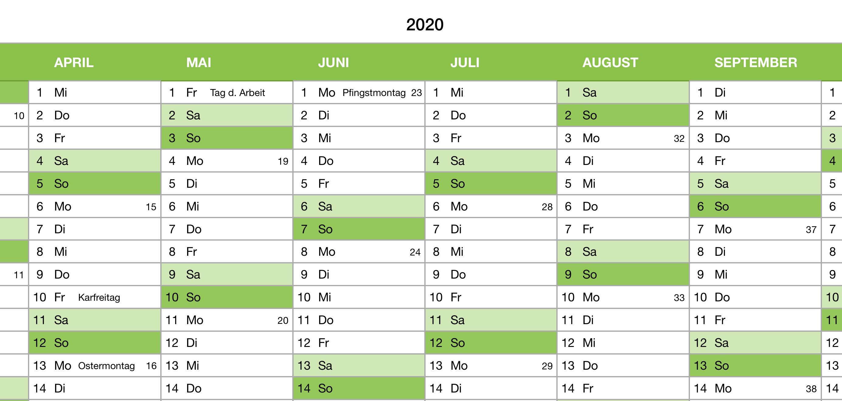numbers vorlage kalender 2020 ganzjahr