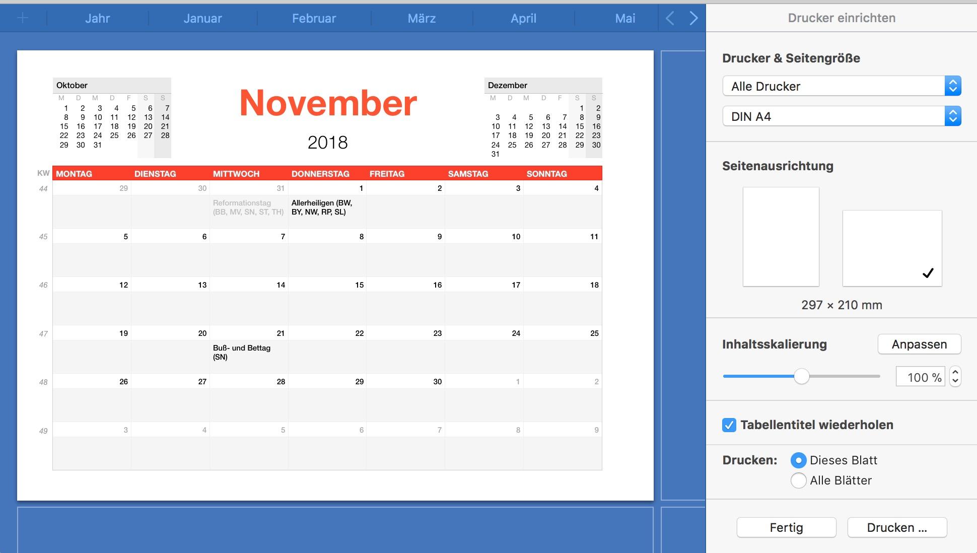 Numbers Vorlage Kalender 2018 | Numbersvorlagen.de