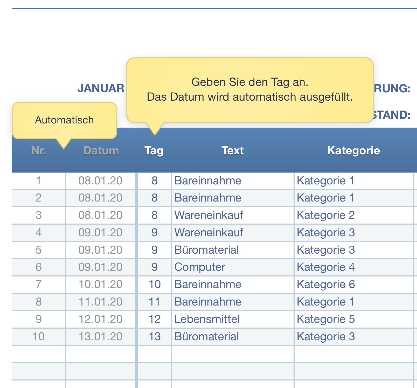 Numbers Vorlage Kassenbuch 2020 Mit Ust Numbersvorlagen De 9