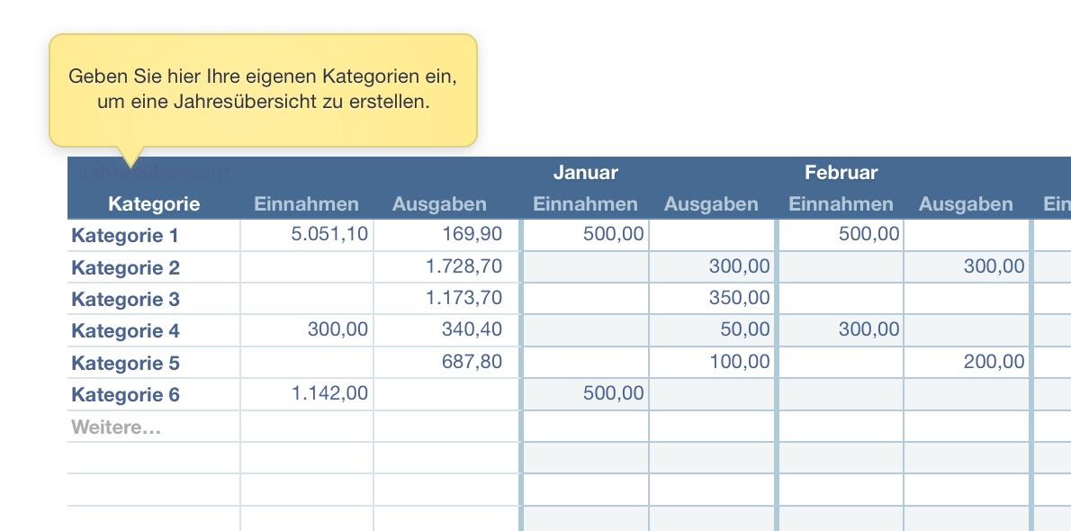Numbers Vorlage Kassenbuch 2018 mit USt | Numbersvorlagen.de