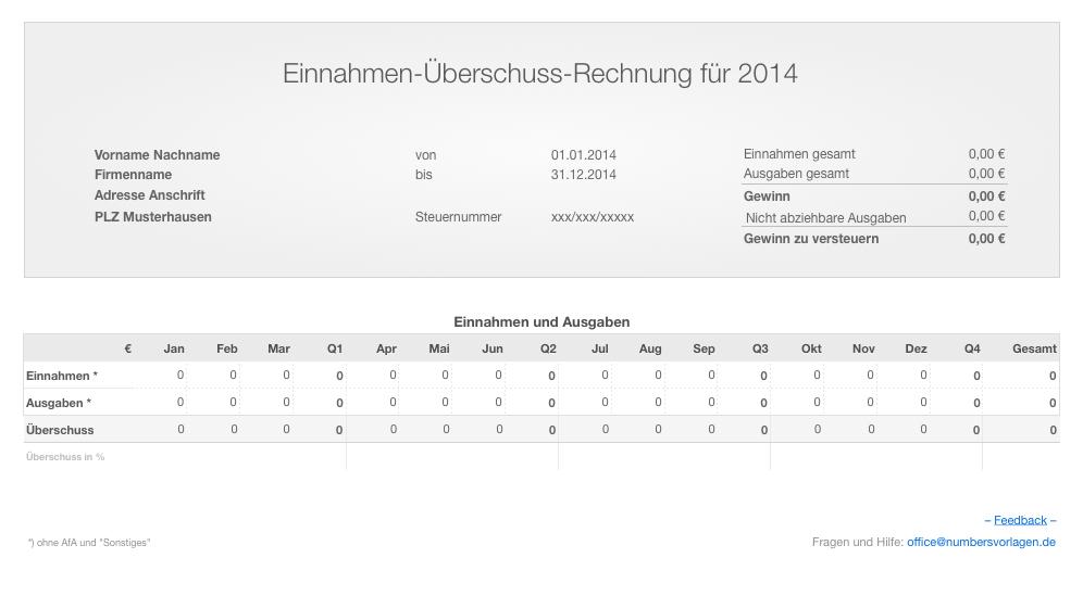 Numbers Vorlage Einnahmen-Überschuss-Rechnung 2014 ohne USt ...