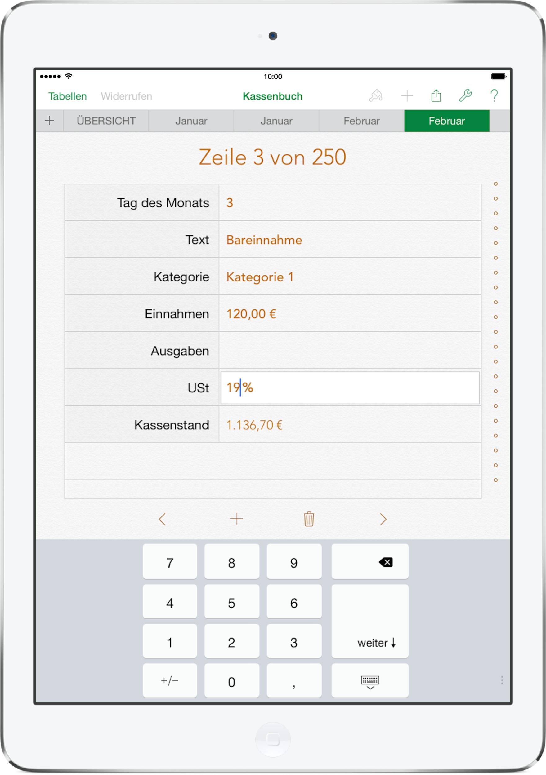 Numbers Vorlage Kassenbuch 2015 mit USt | Numbersvorlagen.de