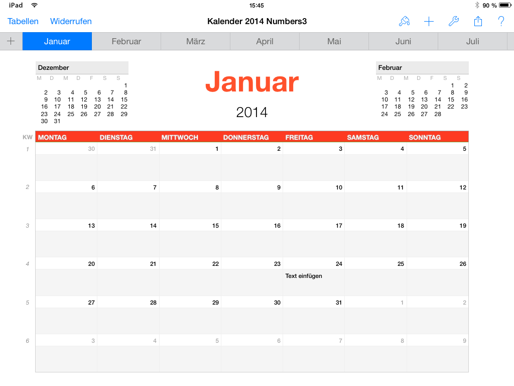 Numbers Vorlage Kalender 2014   Numbersvorlagen.de