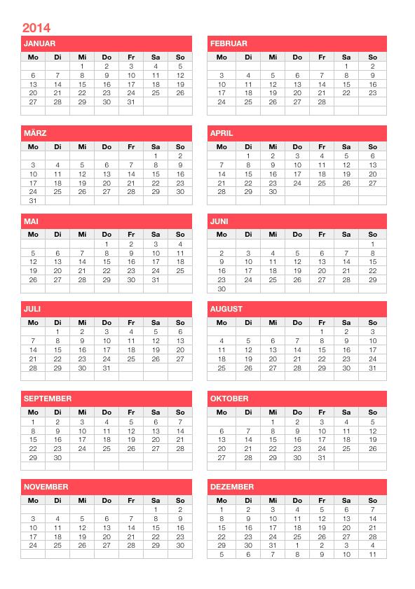 numbers vorlage kalender 2014