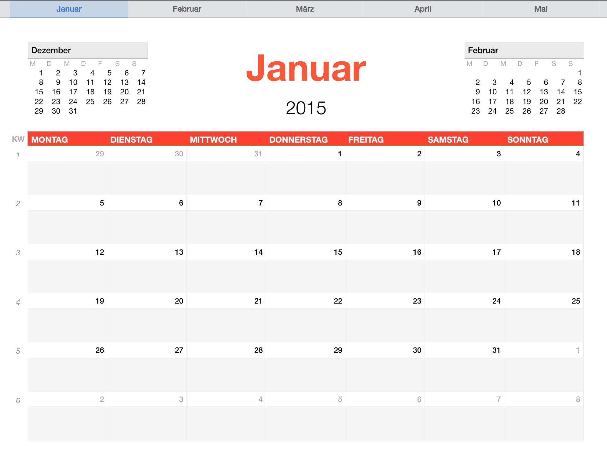 Numbers Vorlage Kalender 2015   Numbersvorlagen.de