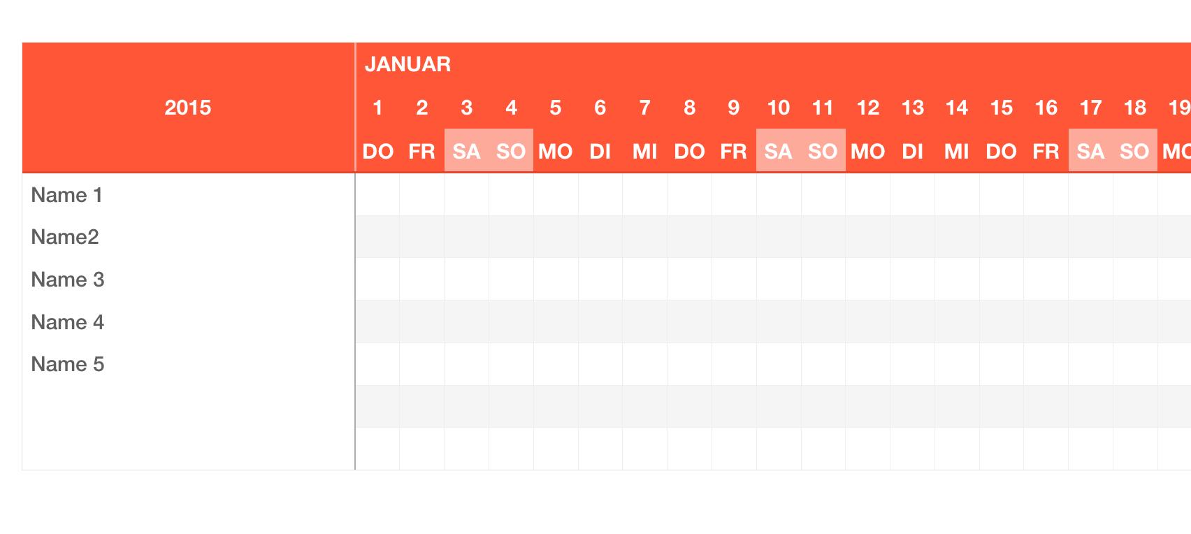 Numbers Vorlage Urlaubsplaner 2015 | Numbersvorlagen.de