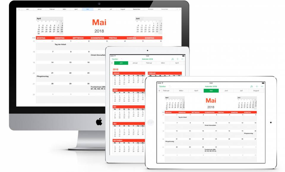 Numbers Vorlage Kalender 2018 Mac iPad