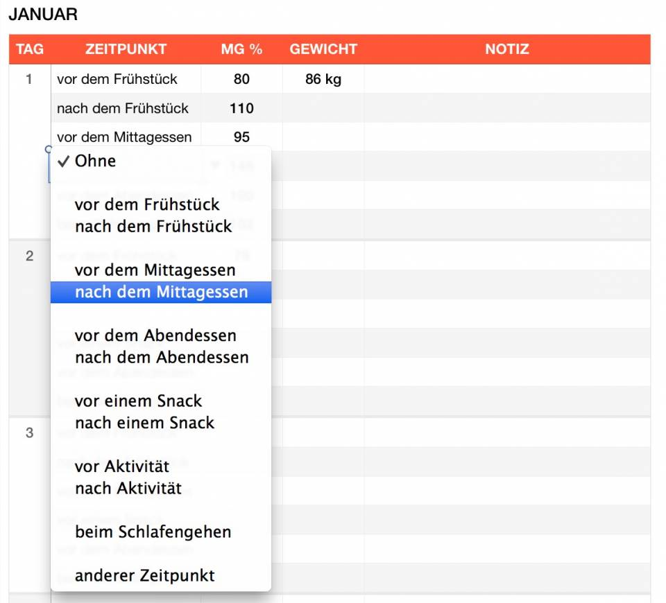 Numbers Vorlage Blutzuckerwerte Dropdown Mac