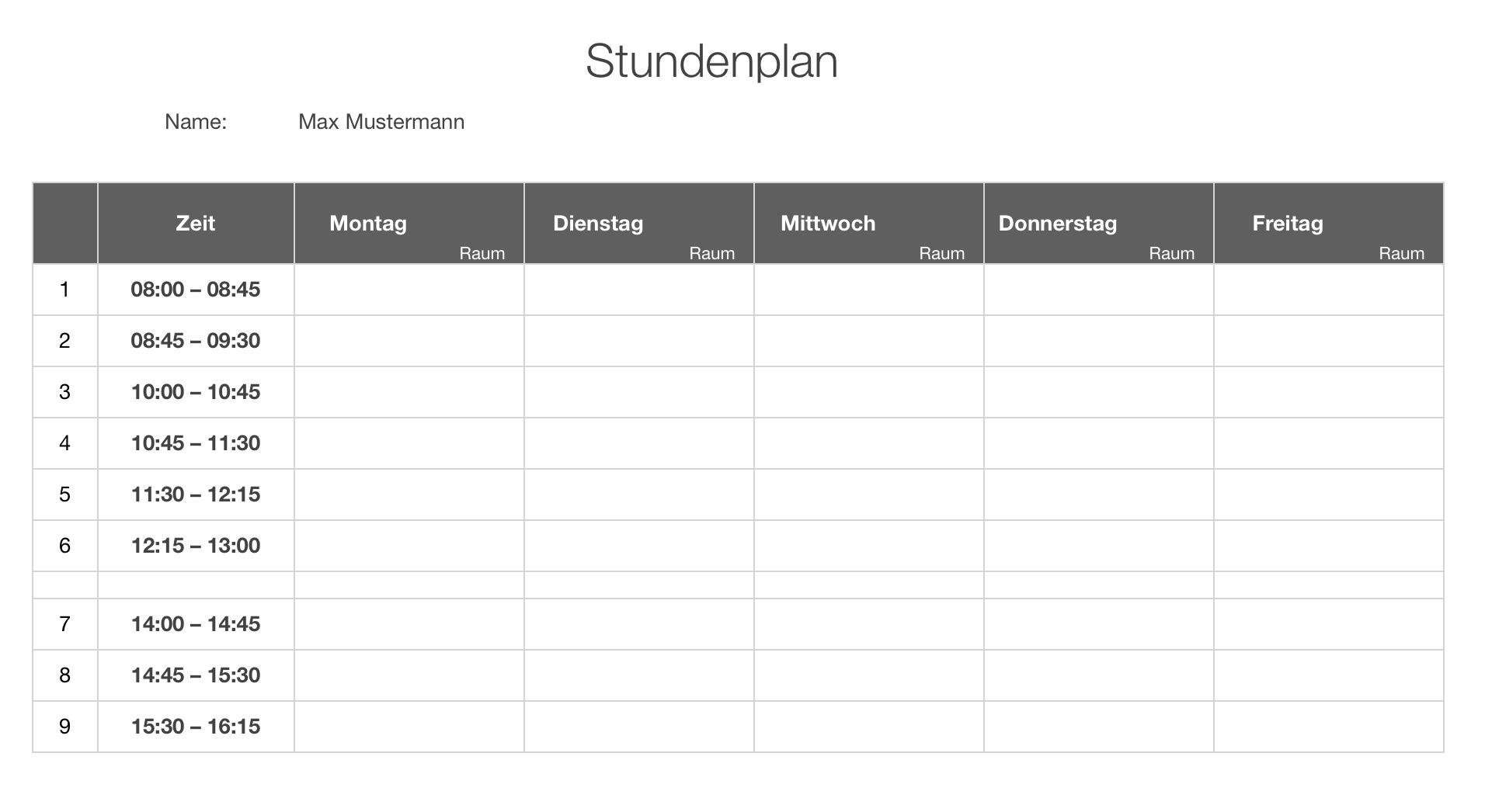 Numbers Vorlage Stundenplan | Numbersvorlagen.de